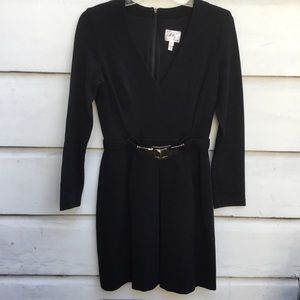Milly New York belted black long sleeve knit dress
